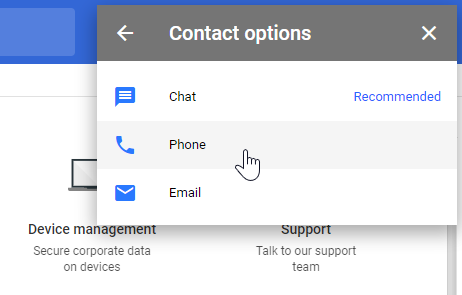 Google Admin contact options