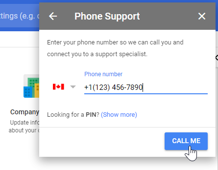 Google Admin phone support enter your phone number