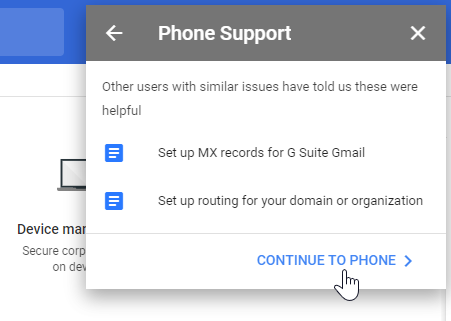 Google Admin phone support help article suggestions