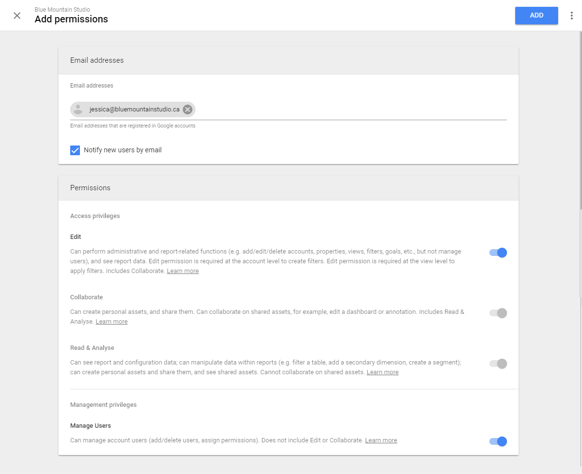 Add permissions for user in Google Analytics