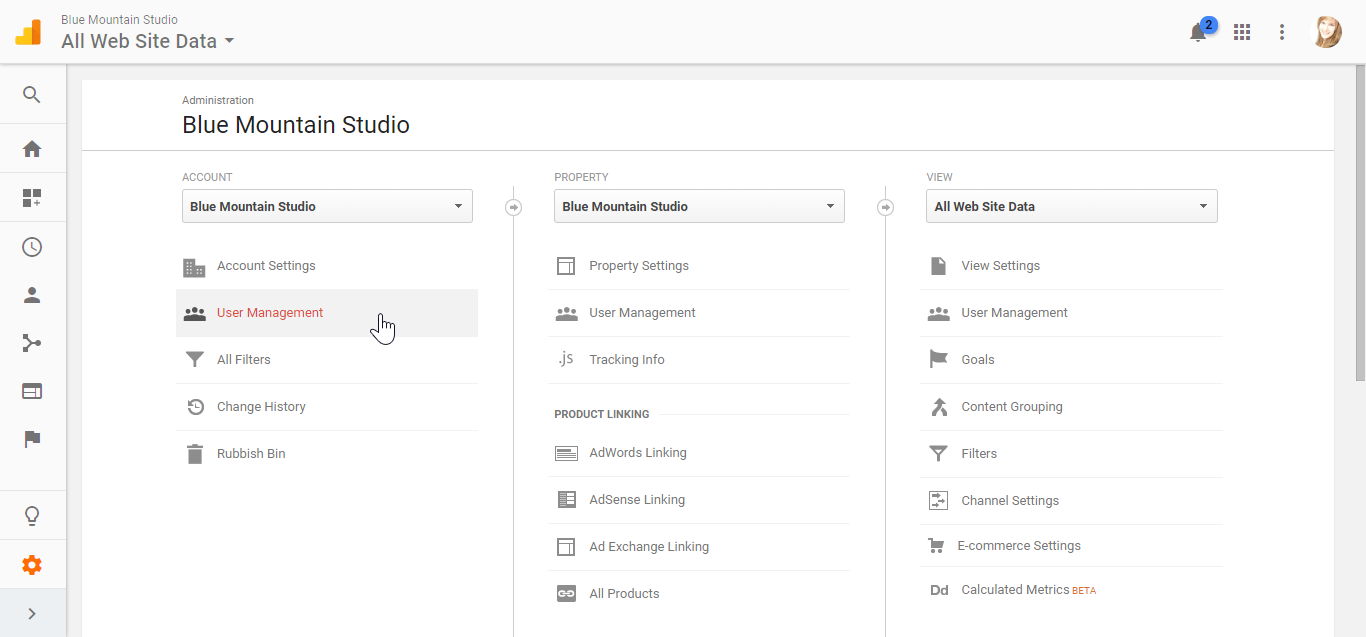 Selecting User Management for your account in Google Analytics admin