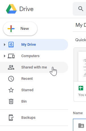 "Google Drive main menu ""Shared with me"""